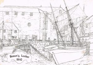 Artists impression of The Bosuns Locker and Penzance Dock in 1840